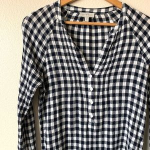 Lucky brand checkered long sleeve top size small